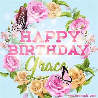 Grace Birthday Animated Happy Aria Flowers Card