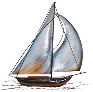 wall hanging metal sailboat beach style wall