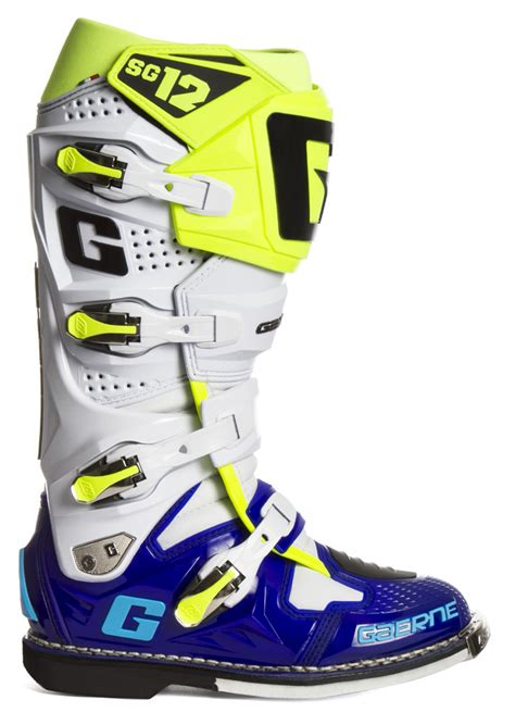 size 12 motocross boots gaerne sg12 le boots blue white neon yellow sixstar racing