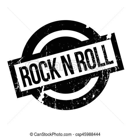 Rock N Roll Rubber Stamp Grunge Design With Dust