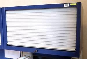 Armoire A Rideau Coulissant : armoire metallique suspendue a 1 rideau coulissant horizontal de couleur bleue et grise dim 45 x 80 ~ Melissatoandfro.com Idées de Décoration