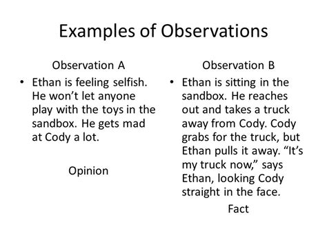 interacting with and observing children ppt 683 | Examples of Observations