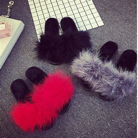 womens fur fluffy slippers  mules sandals feather