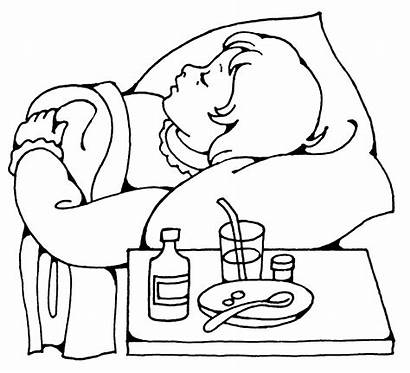 Sick Child Drawing Coloring Pages Sleeping Medicine