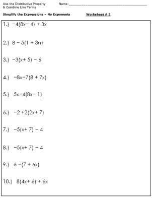 combining  terms worksheet  grade
