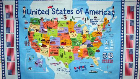 united states map panel  states landmarks tourist sites
