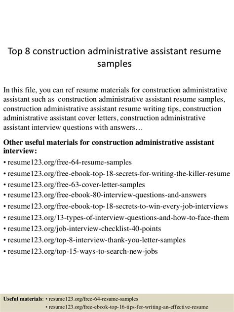 Construction Office Assistant Resume by Top 8 Construction Administrative Assistant Resume Sles