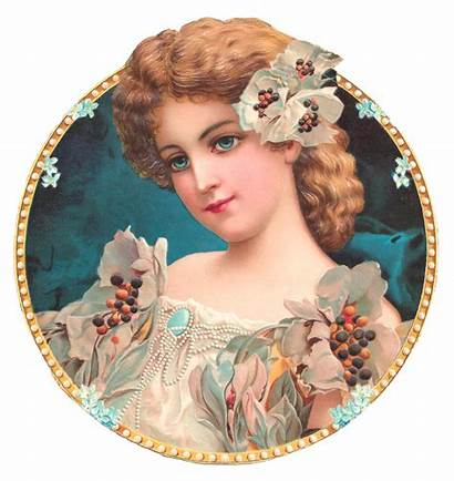 Victorian Woman Flowers Graphic Pearl Gold Welcome
