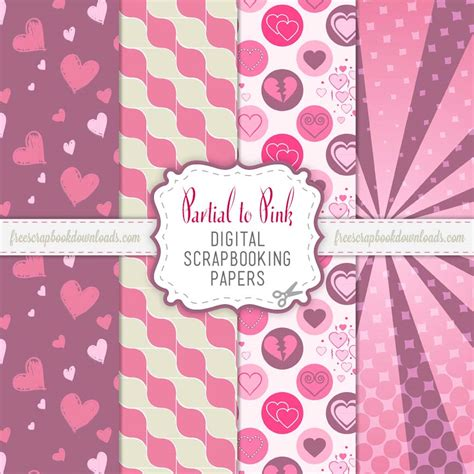 Partial To Pink Free Valentine Scrapbooking Paper Pack