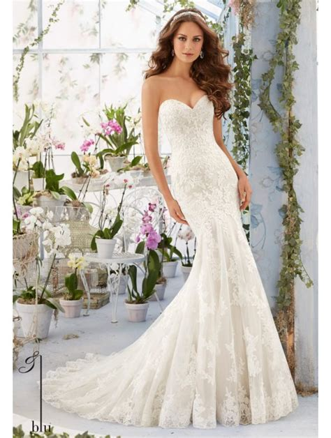 Mori Lee 5413 Lace Mermaid Style Wedding Dress With