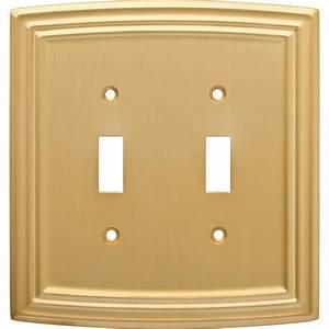 Hampton, Bay, Emery, Decorative, Double, Light, Switch, Cover, Brushed, Brass-w36399-117-u