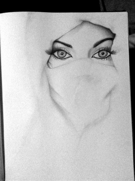 white niqab gaze pencil drawing quotes posters