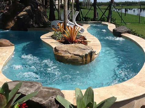 Backyard Pool With Lazy River by Lazy Rivers Luxury Pool Builder Palm County Fl