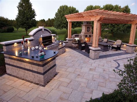 hardscape patio designs covered outdoor kitchens grill