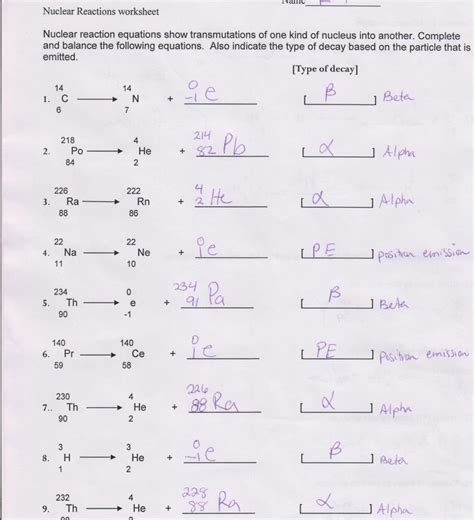 nuclear chemistry worksheet answer key briefencounters worksheet template sles