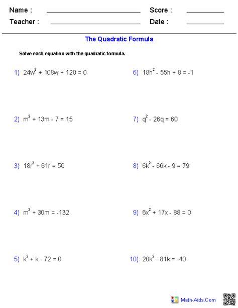 quadratic equation formula worksheets math formula worksheet hs mathematics quadratic
