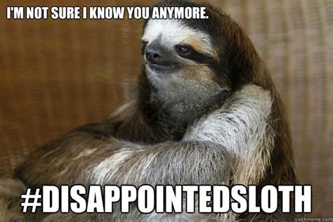 Angry Sloth Meme - i m not sure i know you anymore disappointedsloth disappointed sloth quickmeme