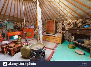 Interior of a traditional Mongolian ger (yurt) by Ongi ...