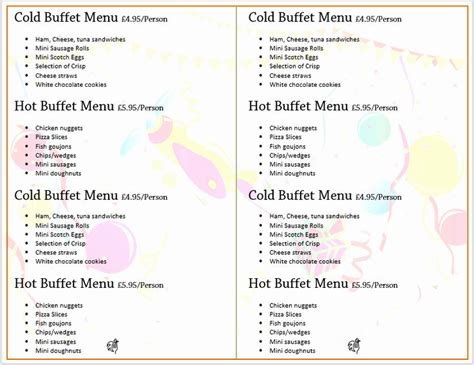 awesome ms word menu template    images menu