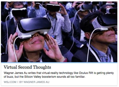 New World Notes Second Thoughts On Vr Hype My Opinion Piece In Today's Wall Street Journal