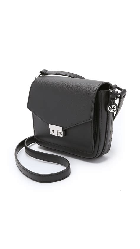 lyst burch t lock mini flap cross bag black