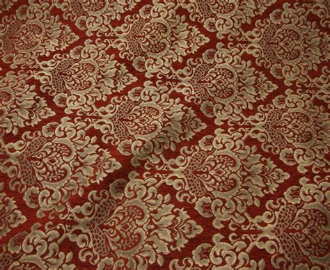 Chenille Upholstery Damask Ruby Gold Print Cleopatra