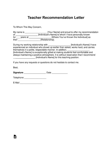 recommendation letter  student teachers template