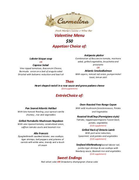 happy valentine day menu   carmelina reatsurant