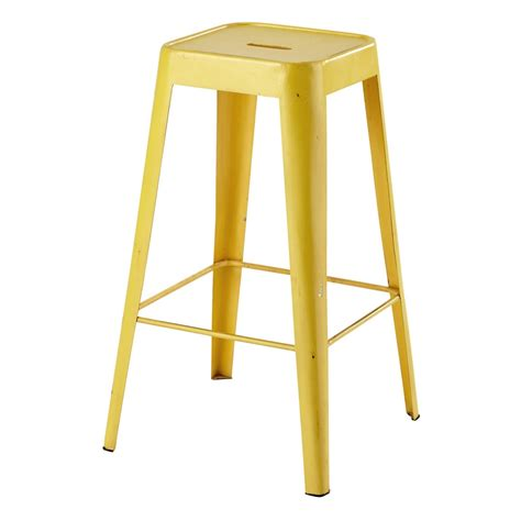 tabouret de bar en metal jaune tom maisons du monde