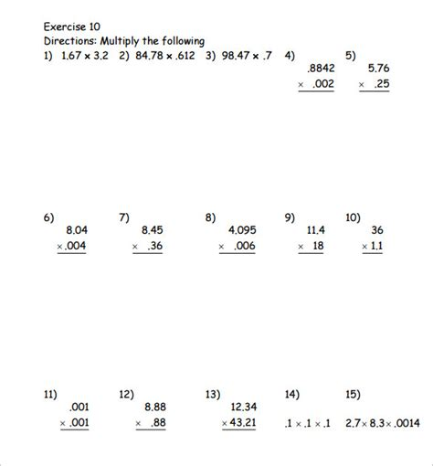 9 multiplying decimals vertical worksheets to