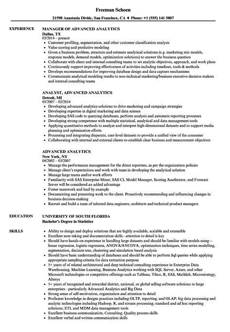 advanced analytics resume samples velvet jobs