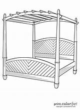 Bed Canopy Coloring Pages Furniture Easy Printcolorfun sketch template