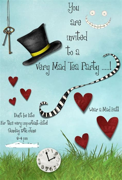 hearts wedding place card mad hatters tea invitation template free tea