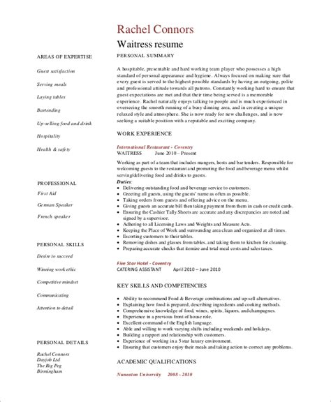 sample waiter resume waitress resume skills resume ideas