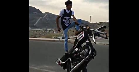 Fearless Teen Rides Motorcycle With One Wheel