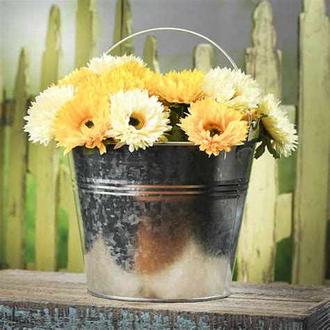 Rustic galvanized metal olive bucket wall planter farmhouse decor set of 3. Small Galvanized Bucket - Candles and Accessories - Primitive Decor - Factory Direct Craft