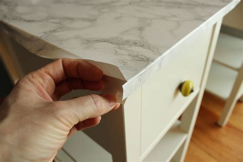 Parallel Kitchen Ideas - diy nightstand upgrade with marble contact paper