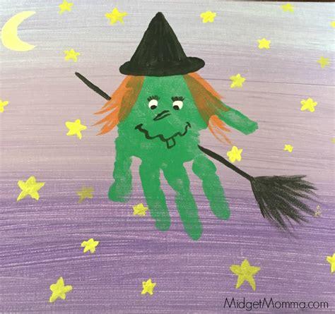 halloween witch kids hand print art memory craft