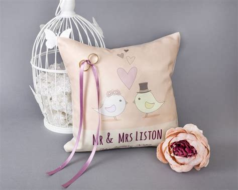 wedding ring cushion personalised and unique