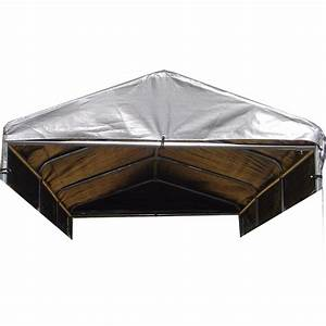Lucky dog weatherguard 4 ft x 12 ft kennel cover with for Bed frame with dog kennel