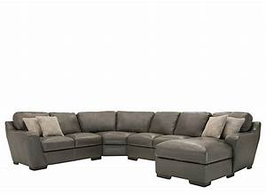 Carpenter 4 pc leather sectional sofa slate raymour for 4 pcs sectional sofa