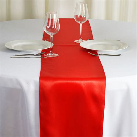 """6 12"""" X 108"""" Satin Table Top Runners Wedding Party Linens"""