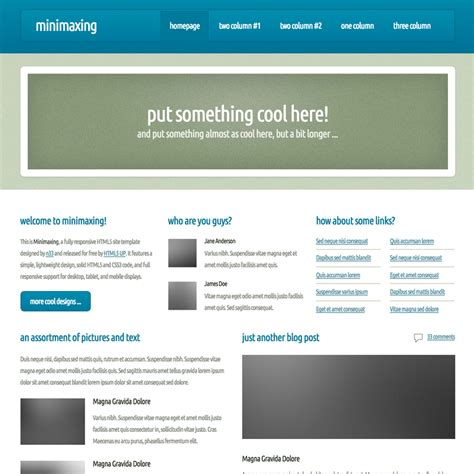 Free Responsive Templates Minimaxing Responsive Website Template