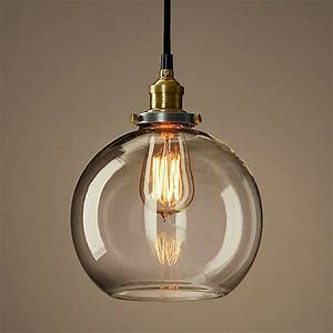 Loft copper cap glass ball pendant lighting contemporary