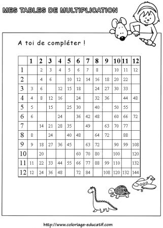 coloriage a imprimer table de multiplication