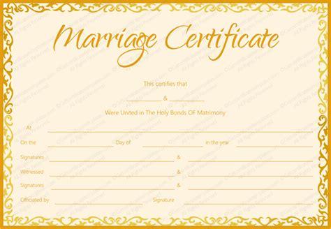 marriage certificate template golden flames design
