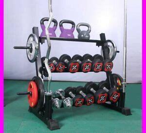 gym weights plates storage rack holder barbell dumbbell kettlebell  tier ebay