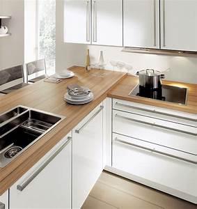 cuisine blanc laque plan travail bois jet set avec cuisine With cuisine blanc laque plan travail bois