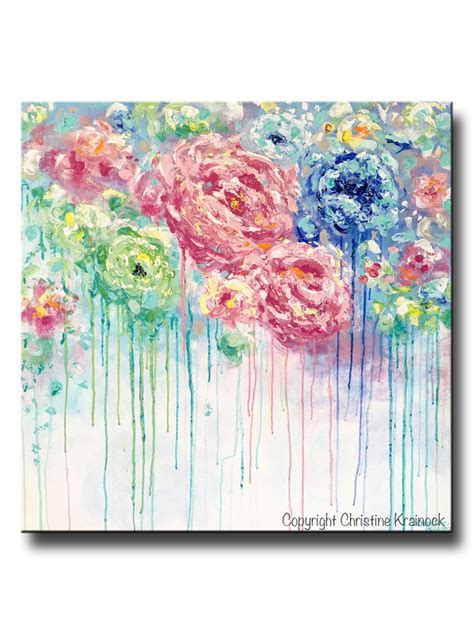 original abstract flower painting large canvas blue colorful contemporary by