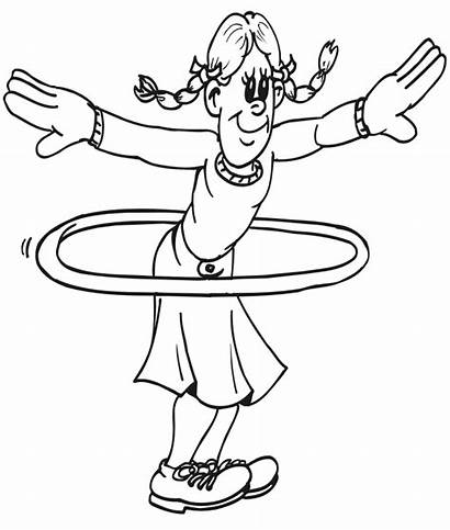 Coloring Pages Hula Hoop Physical Printable Exercise